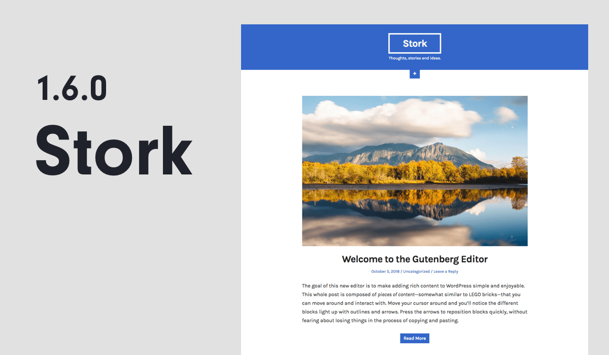 Stork 1.6.0 — WordPress Theme is Gutenberg Ready